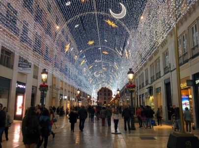 Malaga's Calle Larios with Christmas lights