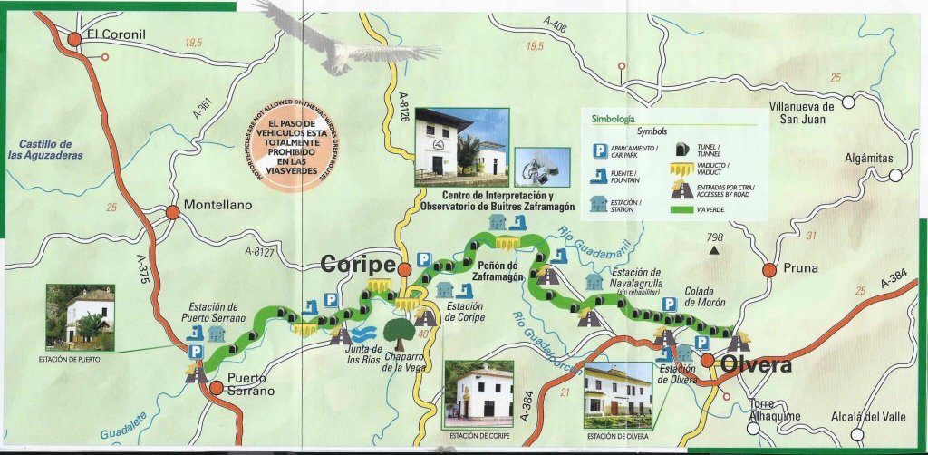 Map of the Via Verde de la Sierra